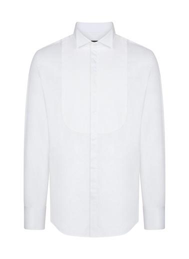 Avva Erkek  Piliseli Ata Yaka Slim Fit Gömlek B002183 Beyaz